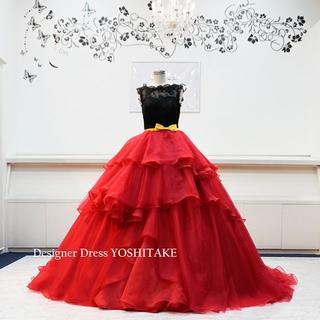 ウエディングドレス(六本ワイヤーパニエ) 赤黒ドレス 披露宴/お色直し