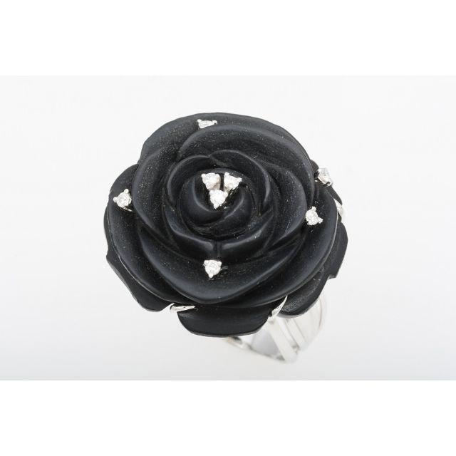 K18WG ブラックカルセドニー・ダイヤ 指輪 (ローズモチーフ) 5-543 レディースのアクセサリー(リング(指輪))の商品写真