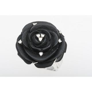 K18WG ブラックカルセドニー・ダイヤ 指輪 (ローズモチーフ) 5-543(リング(指輪))