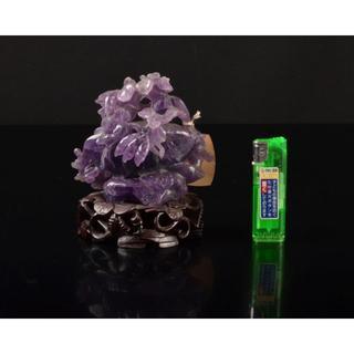 中国 玉石紫水晶 花草雕 床飾 置物 唐木台付 V R2006(彫刻/オブジェ)