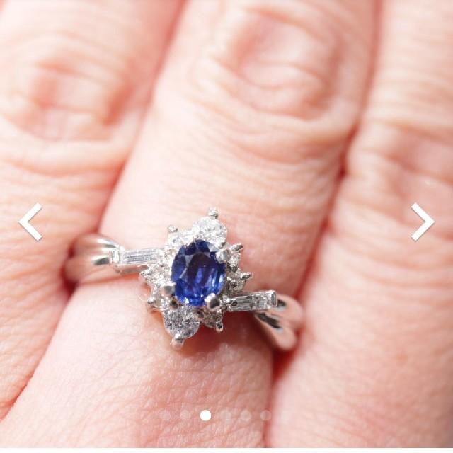トクトクジュエリー サファイア ダイヤモンド プラチナ リング レディースのアクセサリー(リング(指輪))の商品写真