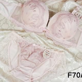 003★F70 M★ブラ ショーツ 姫系レース&刺繍 ピンク(ブラ&ショーツセット)