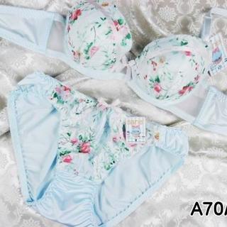 004★A70 M★美胸ブラ ショーツ Wパッド フラワープリント 水色(ブラ&ショーツセット)