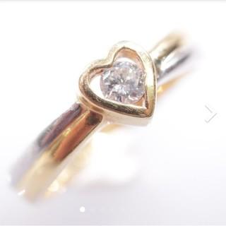 トクトクジュエリー 18金 プラチナ ダイヤモンド コンビ リング(リング(指輪))