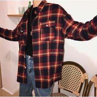 ドロップショルダーチェックシャツ(シャツ)