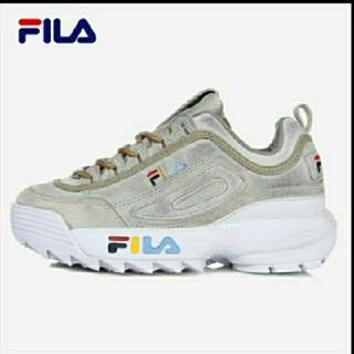 フィラ(FILA)の正規品 FILA DISRUPTOR2 ウォッシュ ロゴ ダッド スニーカー(スニーカー)