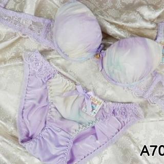 008★A70 M★美胸ブラ ショーツ 谷間メイク 妖艶フラワー 紫(ブラ&ショーツセット)