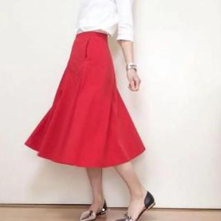 ユニクロ(UNIQLO)のUNIQLO U ルメール シアサッカースカート 赤 レッド(ロングスカート)