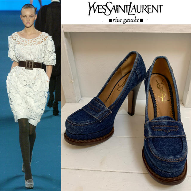 Saint Laurent(サンローラン)のYVES SAINT LAURENT 2005AW デニム地ヒールパンプス 36 レディースの靴/シューズ(ハイヒール/パンプス)の商品写真