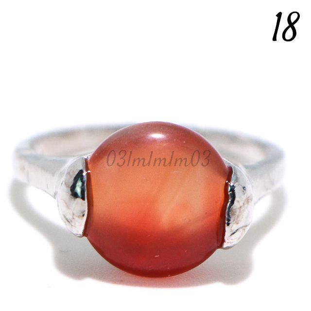 O8 リング 18号 オレンジ カボション シンプル ラウンド 大きいサイズ レディースのアクセサリー(リング(指輪))の商品写真