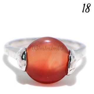 O8 リング 18号 オレンジ カボション シンプル ラウンド 大きいサイズ(リング(指輪))
