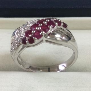 ★サイズ12号★プラチナPt900ルビー&ダイヤ・デザインリング★1.38ct(リング(指輪))