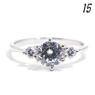 C30 リング 15号 CZ ダイヤモンド ラウンド 3粒 シンプル ギフト(リング(指輪))