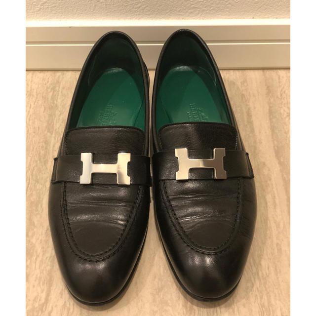 Hermes(エルメス)の【Hermes/エルメス】黒×グリーン★バイカラー★ローファー★モカシン レディースの靴/シューズ(ローファー/革靴)の商品写真