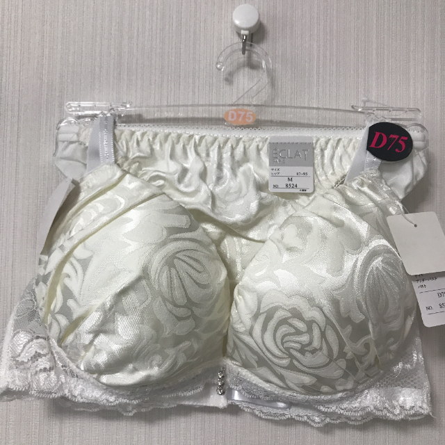 【D75 M ホワイト】ブラショー ブラジャー ショーツ サテン エレガント レディースの下着/アンダーウェア(ブラ&ショーツセット)の商品写真