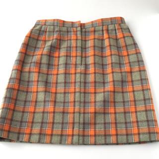 ★ハンドメイド★秋色チェックのスカート★(ひざ丈スカート)