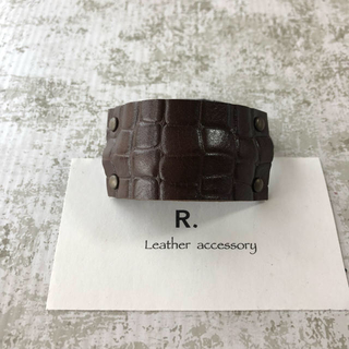 ブラウンクロコダイル型のレザーヘアゴム