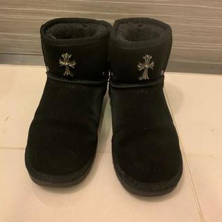 韓国ファッション クロスモチーフ ムートンブーツ ブラック(ブーツ)