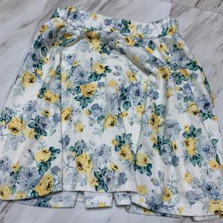 グレイル(GRL)の花柄フレアスカート ミニスカート グレイル ブルー イエロー 白スカート(ミニスカート)