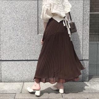 who's who Chico - ☆今期完売色 フーズフーチコ イレギュラヘムプリーツスカート ダークブラウン
