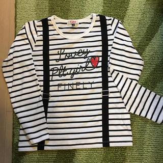 ピンクラテ(PINK-latte)のpinklatte ボーダーロングTシャツ XXSサイズ 135〜145(Tシャツ/カットソー)