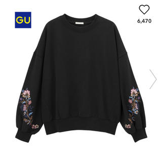 GU - エンブロイダリースウェットプルオーバー(長袖)ブラック