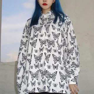 蝶 バタフライ 長袖シャツ