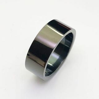 幅広ブラックカラーのサージカルステンレスリングring116(リング(指輪))