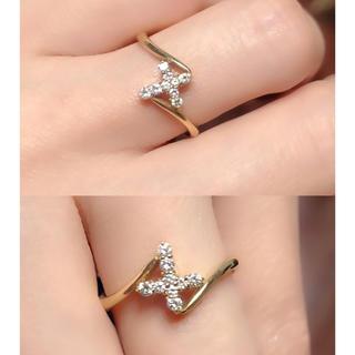 ❤️送料込み☆新品人気クロス0.13ctキラキラダイヤモンドK18リング