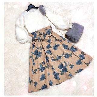 JEANASIS - コーデセット✽ アルパカニット+新品タグ付き 花柄スカート ✽