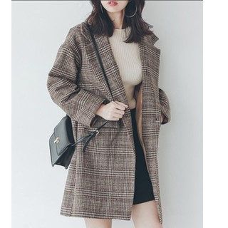Lily Brown - ウールグレンチェックビックシルエットジャケットコート