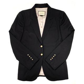 グッチ(Gucci)のGUCCI☆ テーラードジャケット GGパールボタン ブラック(テーラードジャケット)