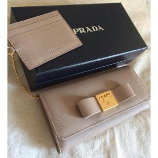 PRADA - PRADA 長財布♡CAMMEOベージュ♡おリボン付き♡パス取り外し可♡