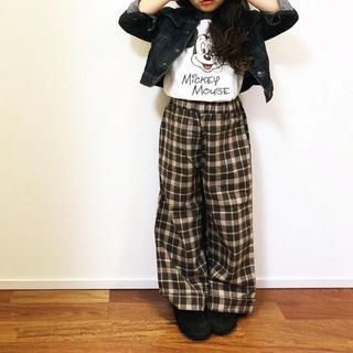 韓国子供服💛チェック柄ワイドパンツ💛新品未使用タグなし