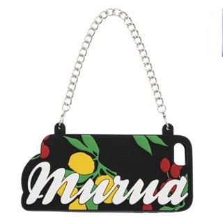 ムルーア(MURUA)の新品 MURUA iPhoneケース 6/6S ロゴ ブランド 黒 チェーン 秋(iPhoneケース)