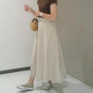 ジーユー(GU)のGU ギンガムチェックロングスカート XL ベージュ(ロングスカート)