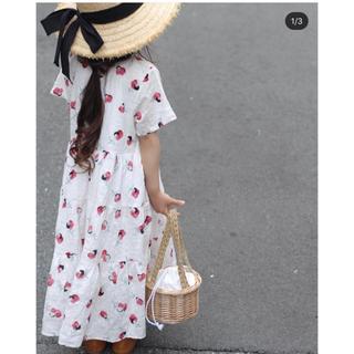 韓国子供服💛コットンレトロフラワーワンピース💛新品未使用タグあり(ワンピース)