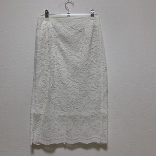 ジーユー(GU)のGU ホワイトレーススカート(ひざ丈スカート)