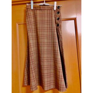 ジーユー(GU)のチェックフレアミディスカートAM+E(ロングスカート)