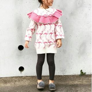韓国子供服💛フラミンゴ柄ニットトップス💛2回着用