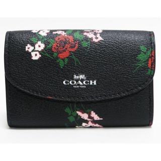 コーチ(COACH)の超美品COACHコーチ 6連キーケース 花柄 黒 F26220 良品 正規品(キーケース)