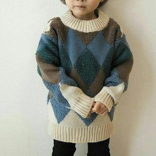 韓国子供服💛ひし形ニット💛150サイズ💛一回着用美品