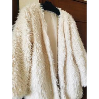 ハニーズ(HONEYS)のホワイト プードルコート  フリーサイズ  (毛皮/ファーコート)