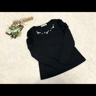 MISCH MASCH - ミッシュマッシュ 胸元ビジュー トップス ブラウス ブラック 黒