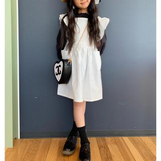 韓国子供服💛フリル付きエプロンワンピース💛一回着用美品