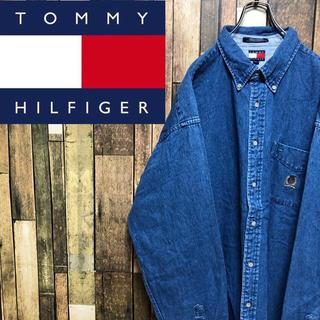 TOMMY HILFIGER - 【激レア】トミーヒルフィガー☆オールド刺繍ロゴスーパービッグデニムシャツ 90s