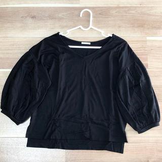 ジーユー(GU)のボリューム袖トップス 黒(シャツ/ブラウス(長袖/七分))