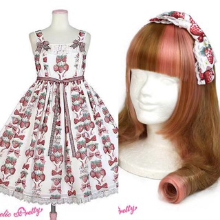 アンジェリックプリティー(Angelic Pretty)のStrawberry Dollジャンパースカート カチューシャ セット アンプリ(ミニワンピース)