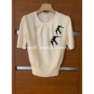 ミュウミュウ(miumiu)のmiumiu ♡ スワロー 刺繍 サークルネック ウール 半袖ニット (ニット/セーター)