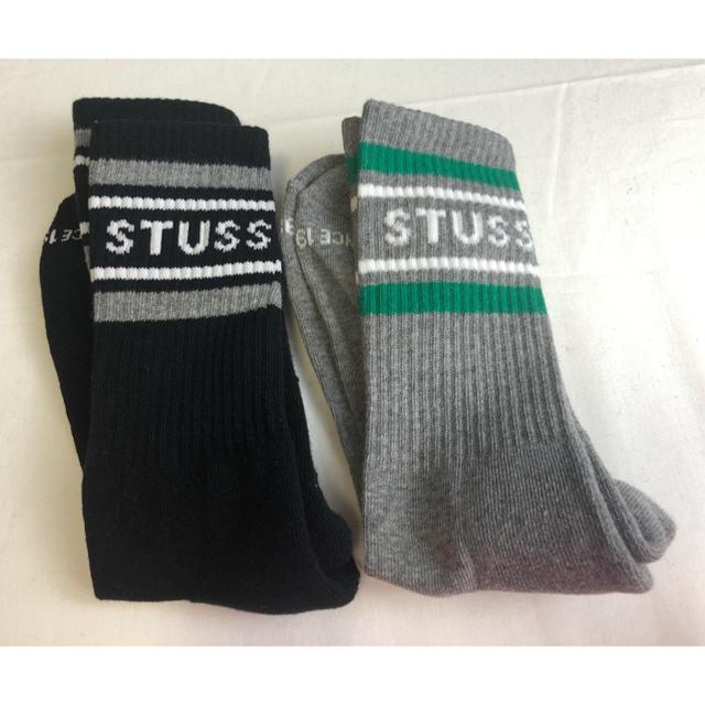 STUSSY(ステューシー)のstussy  メンズ ソックス  黒 グレー メンズのレッグウェア(ソックス)の商品写真